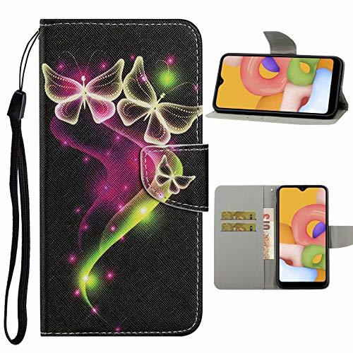 Nadoli Handyhülle für Samsung Galaxy A51,Netter Schmetterling Muster Premium Leder Lanyard Magnetverschluss Ständerfunktion Schutzhülle Brieftasche mit Kartenfächer