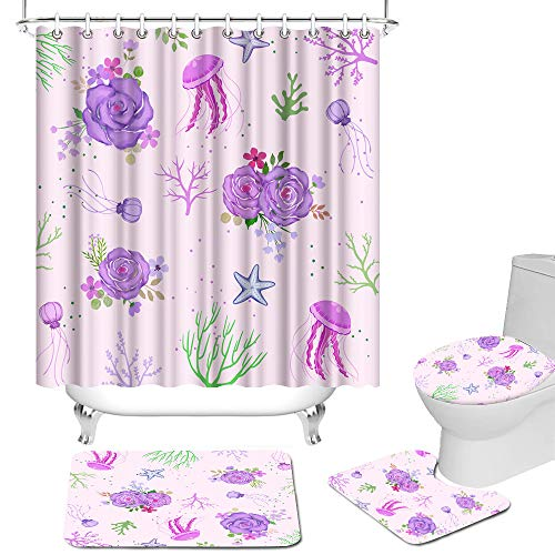 RnnJoile Purple Floral Bathroom Set Rose Corals with Jellyfish Starfish Undersea Plants Shower Curtain with Rugs and Bath Mat 4 Piece Cute Flowers and Marine Life Bathroom Decor with Hooks