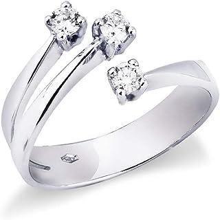 Gioielli di Valenza - Anello in oro bianco 18k trilogy con fasce incrociate con diamanti. - TRR2464-30BB