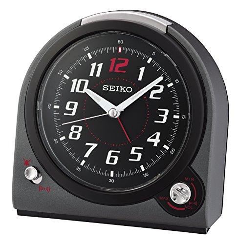 Seiko Plastic Alarm Clock (13.5 cm x 13 cm x 7.7 cm, Matte Metallic Black, QHK029J)