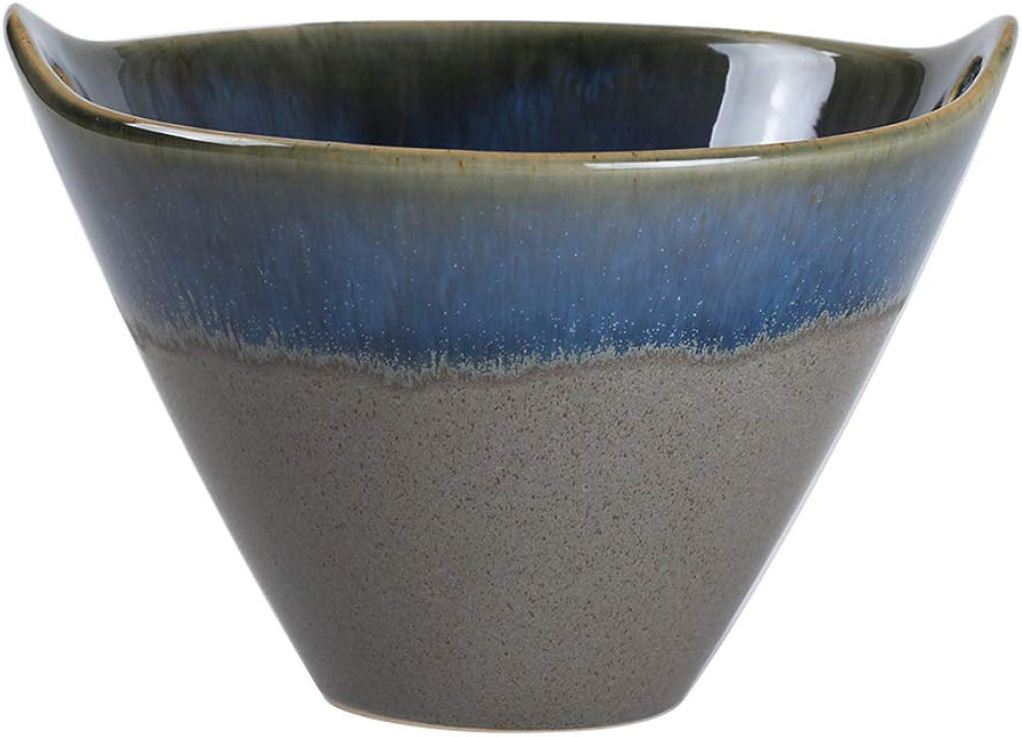 Bol japonais créatif bleu four changeHommest seau forme sacuettes sacuettes binaural salade bol ménage raHommes bol soupe bol en céramique bol bol (Couleur   6912001000)