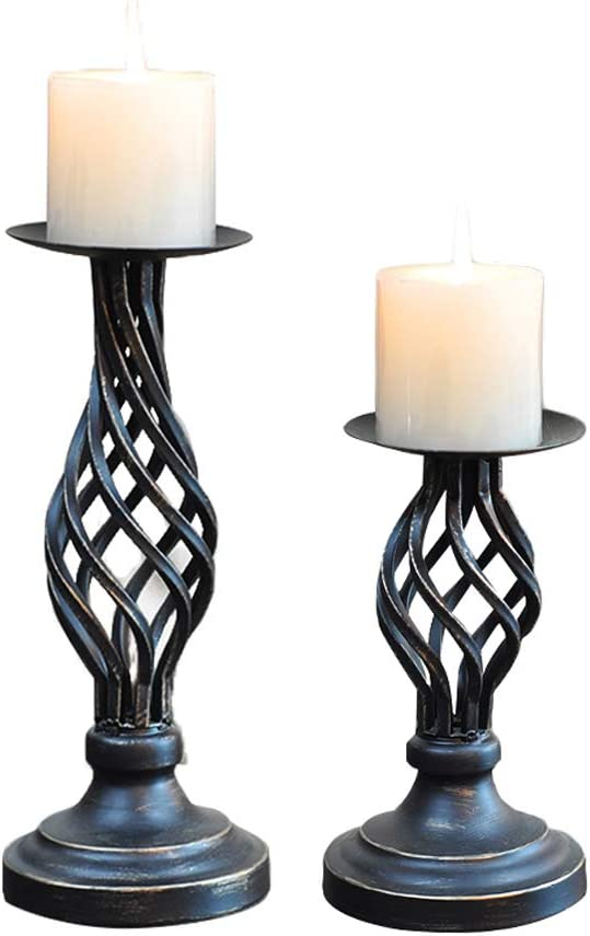 """Retro Iron Decorative Candle Holder for Birthday Party,Wedding,Valentine's Day Set of 2 Candlestick Holders for Candlelight Dinner Home Gift for Girl 4.5""""8"""",4.5""""11"""""""
