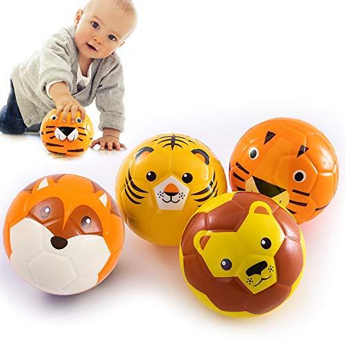 Baby Spielzeug Baby Ball Softball für die Kleinsten   Schaumstoffball mit weicher Füllung   Für Babys ab 3 Monaten, Tiermuster (Zufälliges Muster) (10*10 cm)