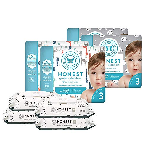 The Honest Company Super Duper Club Box with TrueAbsorb Baby Diapers & Honest Baby Wipes | Size 3 | Eco-Friendly Diapers | Hypoallergenic Wipes | Stylish Prints