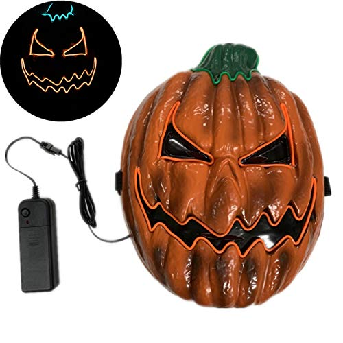 GANYUE LED Máscaras Calabaza de Halloween,Personalidad Máscara de Mascarada Que Brilla Intensamente Creativa para la Fiesta de Cosplay de Halloween, Batería Alimentada (No Incluida)