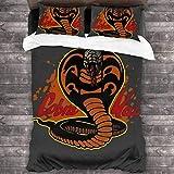 Qoqon Reptil Familiar Cobra Kai Karate Kid Juego de Cama de 3 Piezas Funda nórdica Juego de Cama Decorativo de 3 Piezas con 2 Fundas de Almohada