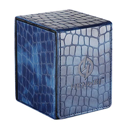HENWEI Deck Box Protector for MTG Pokémon Gathering Game or Baseball Card, Kirin Premium PU with Both Side Open (Blue)
