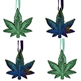 World of Wonders Gifts 'Celebrate The Holidaze Marijuana Leaf Ornaments (4 Piece Set) | Christmas Decorations and Home Décor | 420 Décor | Christmas Tree Ornaments - 3.5'