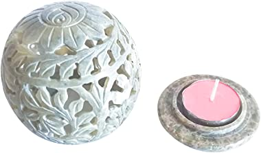 NIRMAN Hand Carved Tealight Holder Sphere Shaped Made from Soapstone with Intricate Tendril Openwork Floral Decorative Lanter