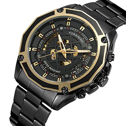Excellent Relojes mecánicos automáticos de los Hombres Reloj de Reloj de Pulsera analógico con Correa de Acero Inoxidable Deportes Esqueleto,A07