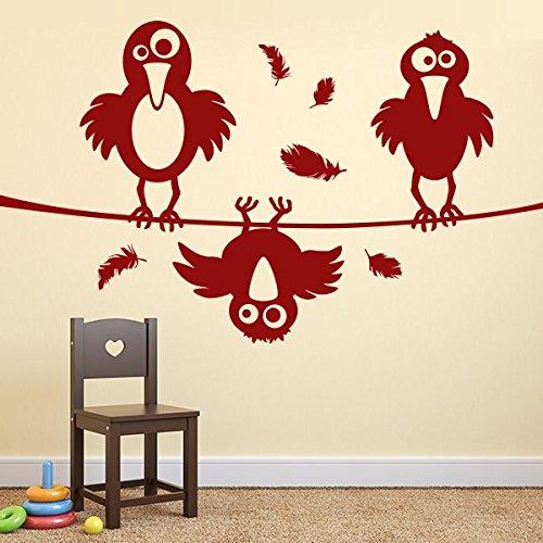denoda 3 pequeños cuervos caóticos – Adhesivo de pared beige 90 x 50 cm (adhesivo decorativo para pared, decoración de salón, habitación de los niños, dormitorio adhesivo para pared)