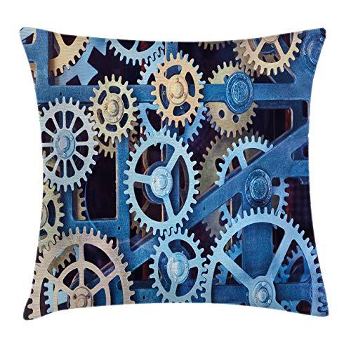 Funda de cojín para reloj, diseño de engranajes de reloj de acero, diseño mecánico, diseño de temas de 45,7 x 45,7 cm, color marrón y azul