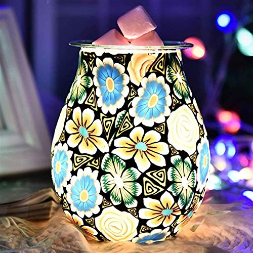 3D Fireworks Aroma Glass Lamp, Oil Diffuser Wax Melt Aroma Burner Romantic Night Light Adjustable Gift for Christmas, Bedroom, Living Room, Study Room, Office, Restaurant (Color : Orchid)