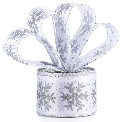 Boao 20 m x 6.3 cm Satin Ribbon Snowflake Wired Sheer Glitter Ribbon with Spool for Christmas Party Gift Wrapping Decoration (Ivory)