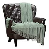 Chanasya Textured Knitted Sage Green Throw Blanket With Tassels - Soft Acrylic Bohemian Farmhouse Chic Accent Throw - Decorative for Sofa Chair Couch Bed Living Room (50x65 Inch) Boho Tan Sage Blanket