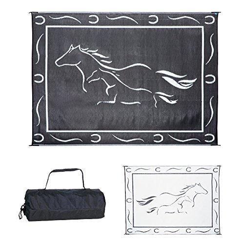 Stylish Camping GH8111 Black/White 8-Feet x11-Feet Galloping Horses Mat