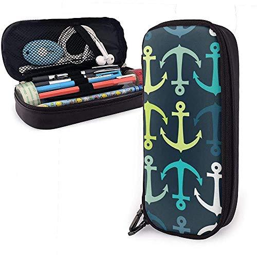 HFHY PU-Leder-Federmäppchen mit Reißverschluss, bunter Stifthalter-Stifthalter mit großer Kapazität, Schminktasche-9U-I7