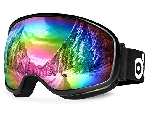 ODOLAND Large Spherical Ski Goggles for Youth Age 8-16, OTG goggles for Sunny and Cloudy Days, S2 Double Anti-Fog Lens with UV400 Protection, Black Frame