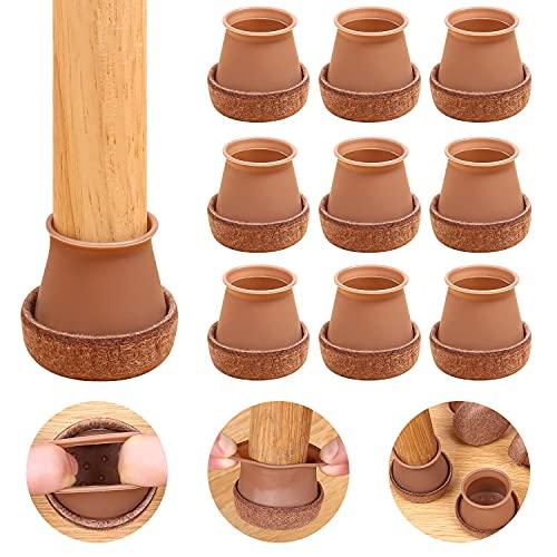 RCHYFEED 24 Stück Filz-Pad Silikon Möbelfüße, verbesserter Überzug Silikon Stuhl Fußschutzkappe, Dicke verschleißfeste Silikon Hocker Fußabdeckung, passend für Durchmesser von 2,5 cm bis 3,8 cm, braun