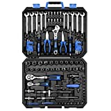 DEKOPRO 118 Piece Tool Kit Professional Auto Repair Tool Set Combination Package Socket Wrench with Most Useful Mechanics Tools