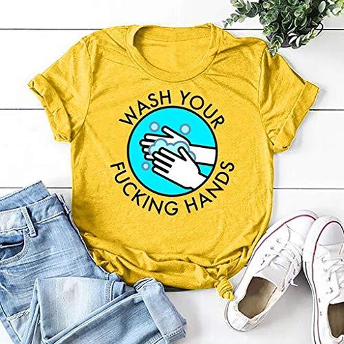 Rugby clothing boutique Q Mantener alejado de Covid-19 Camisas, lavarse Las Manos frecuentemente Camisetas Son cómodo y Transpirable (Color : Yellow, Size : XXXL)