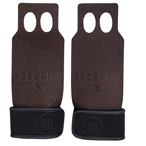 RooGrips Leather Hand Grips for Strength Training, Weightlifting, Gymnastics, Gym, Bar, Kettlebells - Non-Slip Workout Gloves, 2 Finger, for Men and Women - Flexible, Durable Exercise Gear