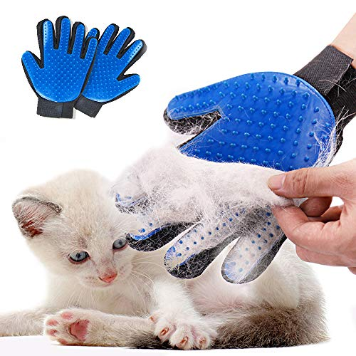 STARROAD-TIM Pet Grooming Glove Hair Remover Brush Gentle Deshedding Efficient Pet Mitt Pet Massage Gloves Left & Right Hand Draw Dog Cat Horse Long Short Fur (1Pair Left & Right Hand (Blue))