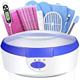 Ejiubas Paraffin Wax Machine - Quick Heating Paraffin Wax Warmer Moisturizing Kit with 2.2 lb Paraffin Wax 2 Thermal Mitts Botties 200 Gloves Liners for Hand and Feet Praffin Bath Blue 2500ml