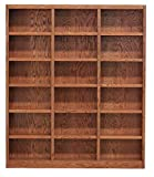 Traditional Wood Triple Wide Bookcase with 18 Shelves in Dry Oak