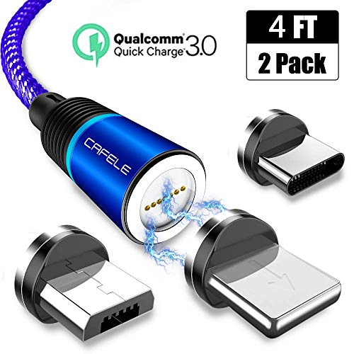 Magnetic Charging Cable, CAFELE [2-Pack 4ft] 3 in 1 Magnet Phone Charger Nylon Braided USB 3.1A Fast Charging Cord with LED Light Compatible with Micro USB, Type C, iOS Devices - Blue