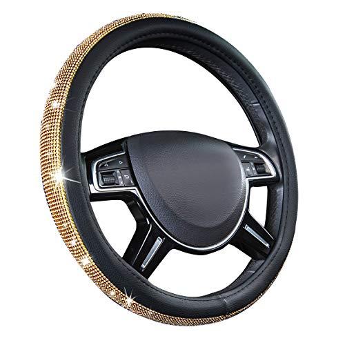 CAR PASS Glorious Rhinestones Leather Universal Steering Wheel Cover, Fit for Suvs,Vans,sedans,Cars,Trucks (Golden)