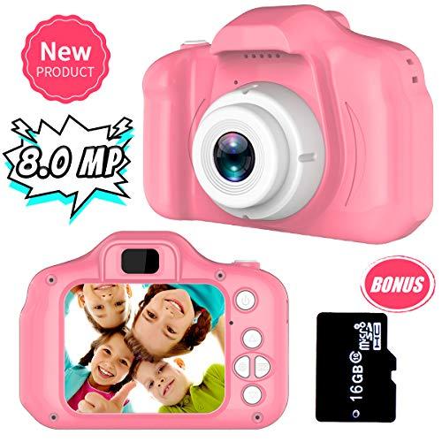 Regali per 3-8 Anni Ragazze Joy-Fun Macchina Fotografica Digitale 8.0 MP Macchine Fotografiche per Bambini Video Disco Elettronico Giocattolo Regali di Compleanno Rosa