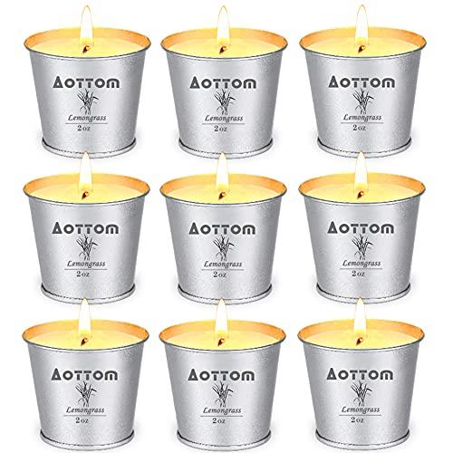 Aottom Citronella Kerze Outdoors (9*75g),Zitronen Kerzen Natürliche Sojawachs Kerzen Outdoor 12Std x 9 Candle für Garten,Picknick,Camping,Terrasse