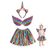 3 piezas Disfraz de Unicornio para Niña JOOPOM Vestido de Unicornio para Niña Alas de Angel Diademas de Unicornio Artículos de Cumpleaños Cosplay Carnaval