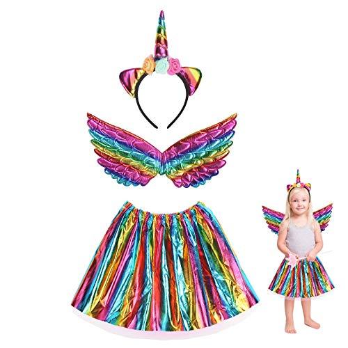 3 pezzi Costume da unicorno per ragazza JOOPOM Abito da unicorno per ragazza Ali d'angelo Fasce per unicorno Articoli di compleanno Cosplay Carnevale
