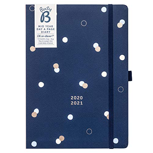 Busy B Terminkalender ab Jahresmitte von August 2020 bis August 2021 mit einem Tag pro Seite – marineblauer A5-Tagesplaner mit Jahresplaner und Stifthalter