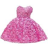 LootenKun Robe Fille Enfant Fleur Ceremonie Princesse d'honneur Chic Mignon A La Mode De Fete Kawaii Ajouree sans Manche Robes Pas Cher Tendance 1-6 Ans