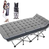 Folding Camping Cots for Adults Heavy Duty cot with Carry Bag, Portable Sleeping Bed for Camp Office Use Outdoor Cot Bed for Traveling (Gray cot with Pearl Cotton Mattress)