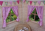 PLAYHOUSE CURTAINS ~ TRADITIONAL PINK GINGHAM ~ WITH TIE-BACKS & FITTINGS ~ WENDY HOUSE DECORATION...