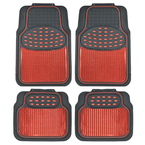 BDK MT614RDAMw1 Metallic Rubber Floor Mats for Car SUV & Truck - Semi Trimmable, 2 Tone Color Heavy...