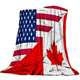 Funy Decor Flannel Fleece Throw Blankets Natinal Flag Canadian American Stars and Maple-Leaf Red Ultra Soft Warm Cozy All Season Premium Bed Blanket for Kids/Girl/Boy/Adult 60' x 80'