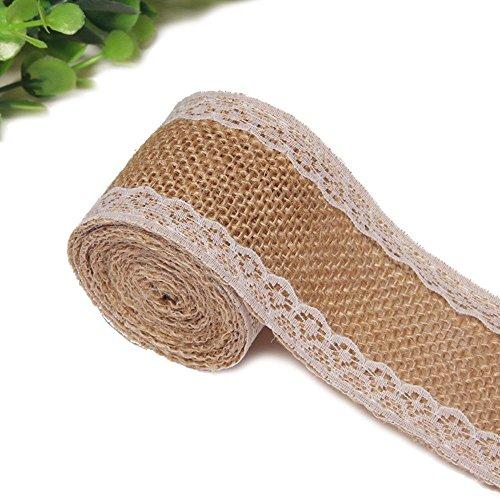 KINGLAKE 5M Natural Burlap Craft Ribbon with White Lace Craft Jute Hessian for Wedding Belt Strap Home Decor