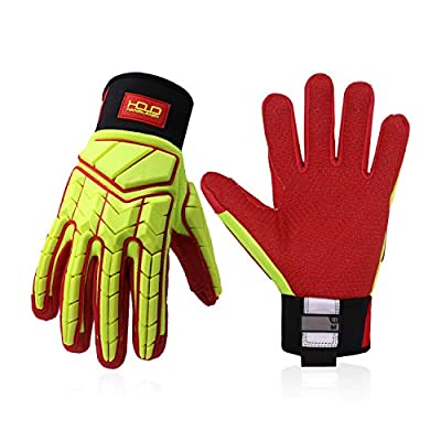 Heavy Duty Work Gloves, HI-VIS Oil and Gas Resistant Safety Work Gloves, Level 5 Cut Resistant, TPR Protector Impact Utility Mechanics Gloves (XL, Yellow)