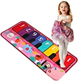 TWFRIC Kids Piano Mat 32' Piano Keyboard Play Mat with 5 Animal Sounds Electronic Dance Mat Early Education Toys Gift for Toddlers Girls Boys (Pink)