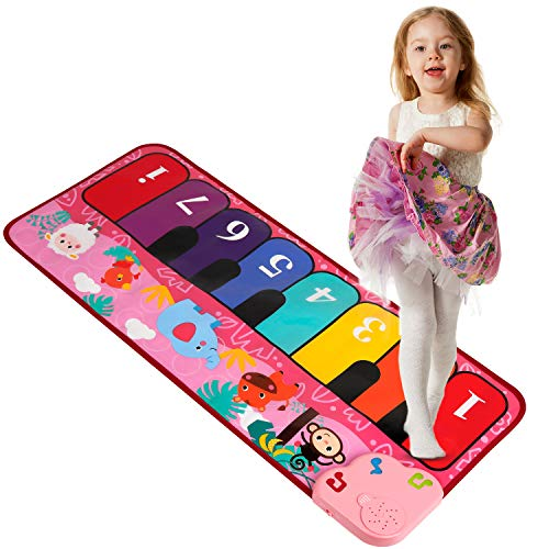 """TWFRIC Kids Piano Mat 32"""" Piano Keyboard Play Mat with 5 Animal Sounds Electronic Dance Mat Early Education Toys Gift for Toddlers Girls Boys (Pink)"""
