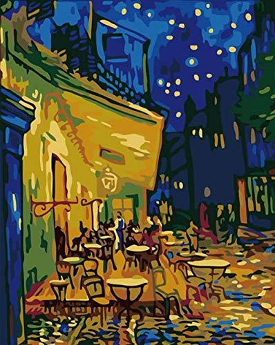 PANDAWDD Pintura por Número Van Gogh, Noche De Verano, Cielo Estrellado. 40X50Cm Marco DIY Pintura Al Óleo Lienzo Color Adultos Niños Decoraciones para El Hogar