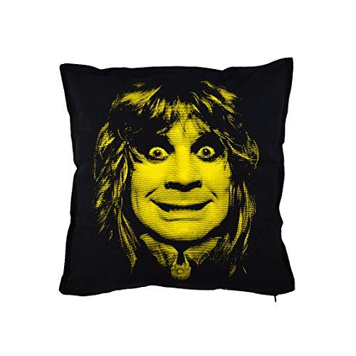 Ozzy Osbourne kussen, 50 x 50 cm, zwart 100% katoen, gedrukt in Italië van Faces