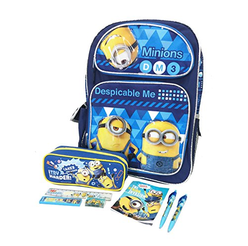 Despicable Me Minions Boy's 16' Large School Backpack Book Bag w/Stationery set