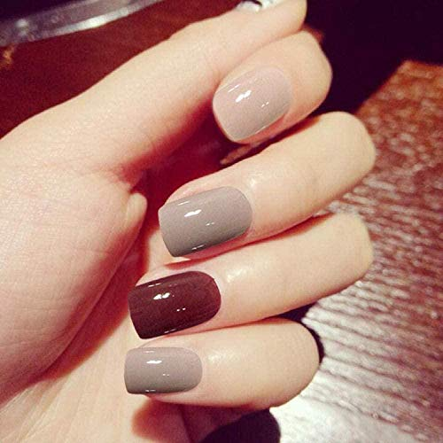 CSCH Faux ongles False Nails Finished Nails Solid Color Short False Nails Patch Nails Patch 24 pièces