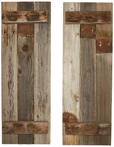 Barn Wood Rustic Decorative Shutter Set of 2